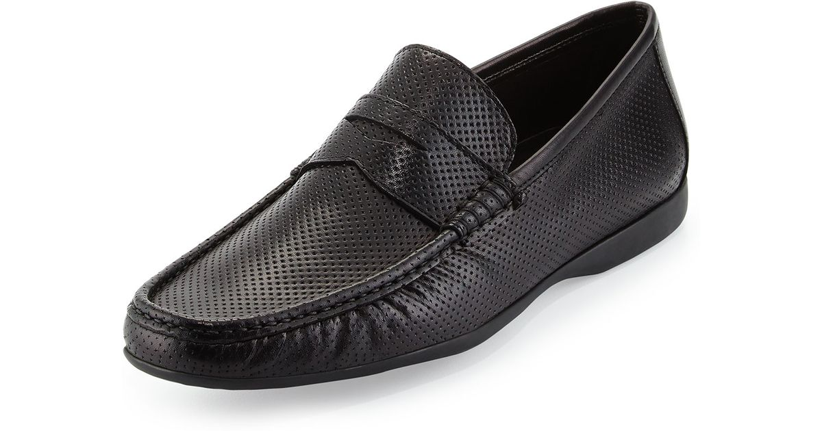 f145ad22b9a Lyst - Bruno Magli Partie Perforated Penny Loafer in Black for Men