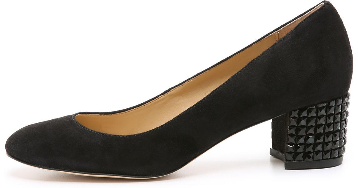 4a7e2d79d59 Lyst - MICHAEL Michael Kors Arabella Suede Kitten Heel Pumps in Black