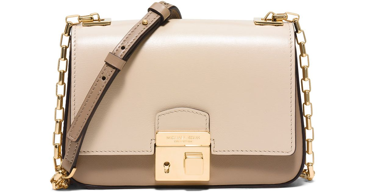 a5472eb9894 Lyst - Michael Kors Gia Small Chain-Strap Shoulder Bag in Natural