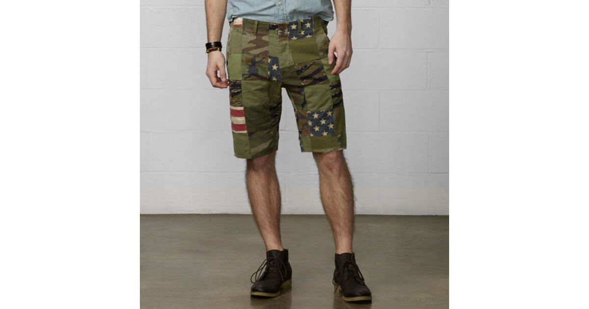 a777ef99a Lyst - Denim   Supply Ralph Lauren Patchwork Chino Short in Green for Men