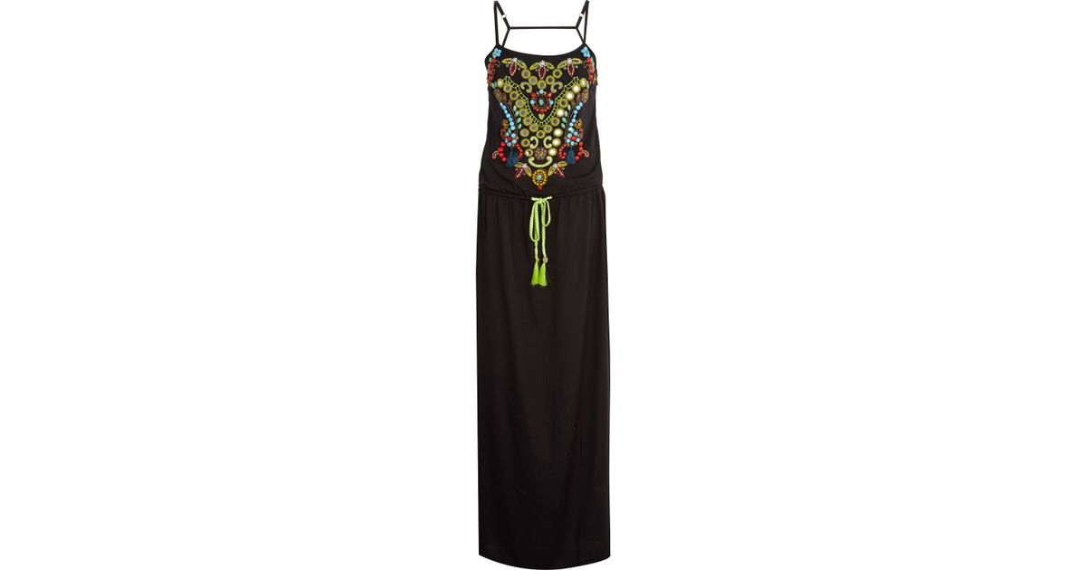 Black pacha tribal embellished maxi dress