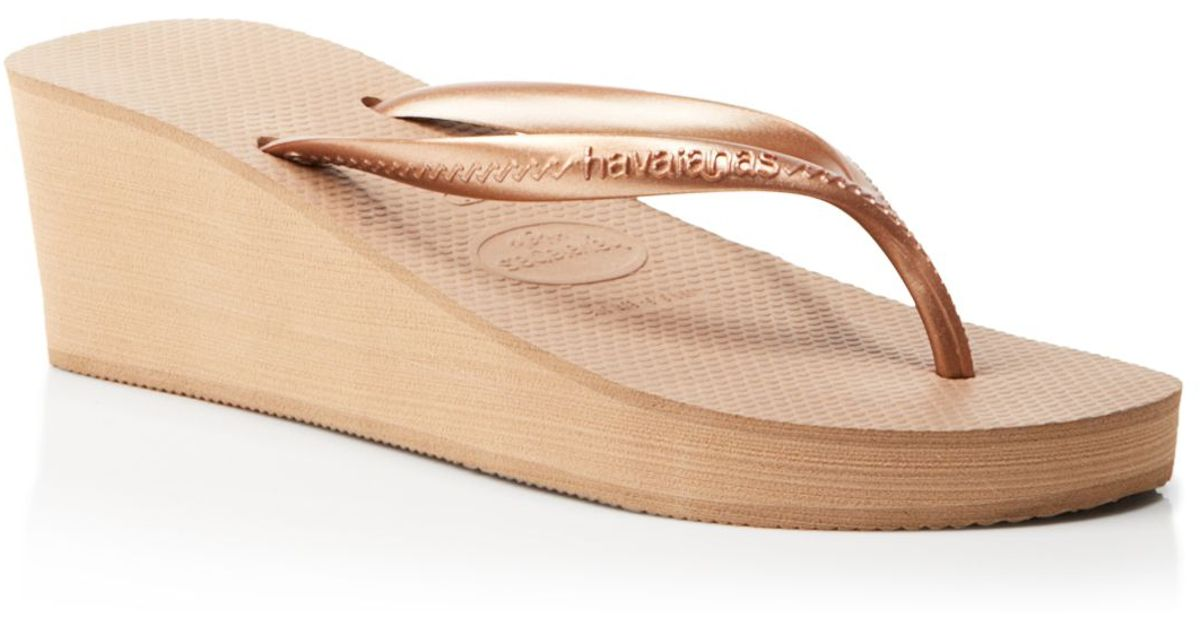 aab8910776763 Lyst - Havaianas Platform Wedge Flip Flops - High Fashion in Pink