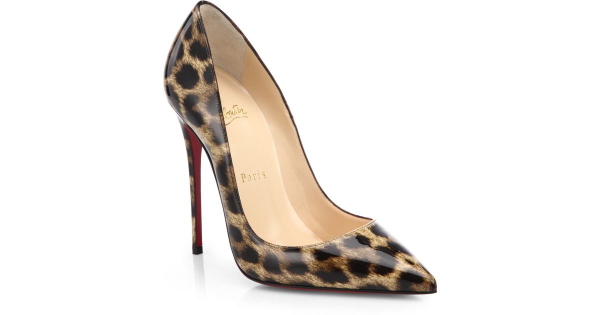 f353e9469a30 Lyst - Christian Louboutin So Kate Leopard-Print Patent Leather Pumps