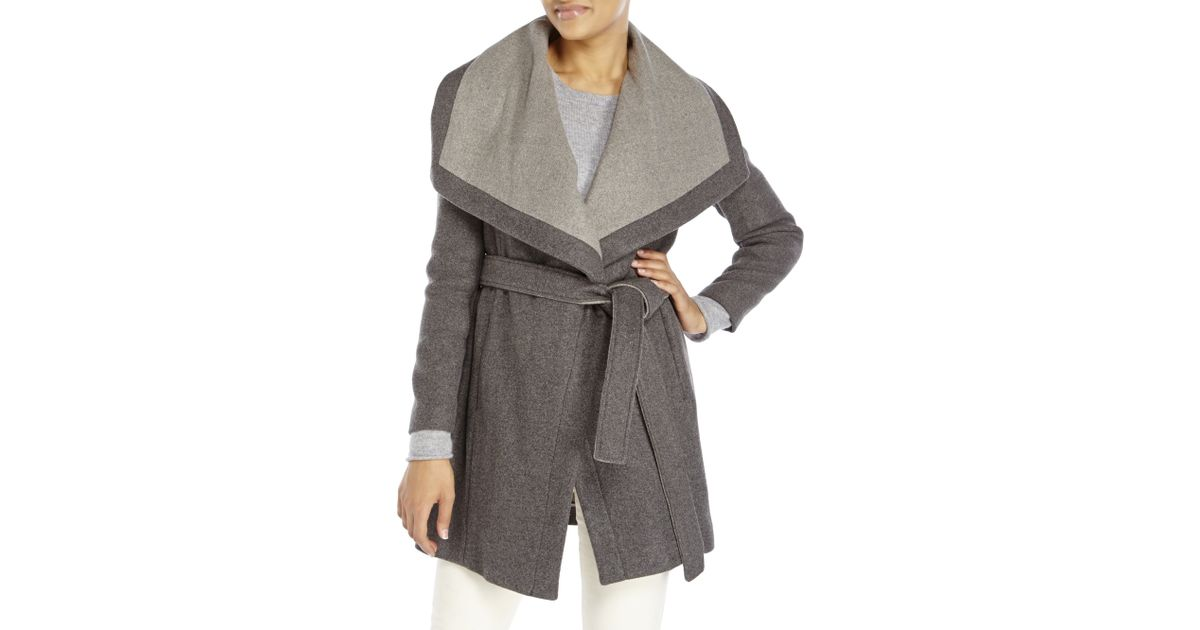 Bcbgeneration Charcoal Wrap Coat in Gray | Lyst