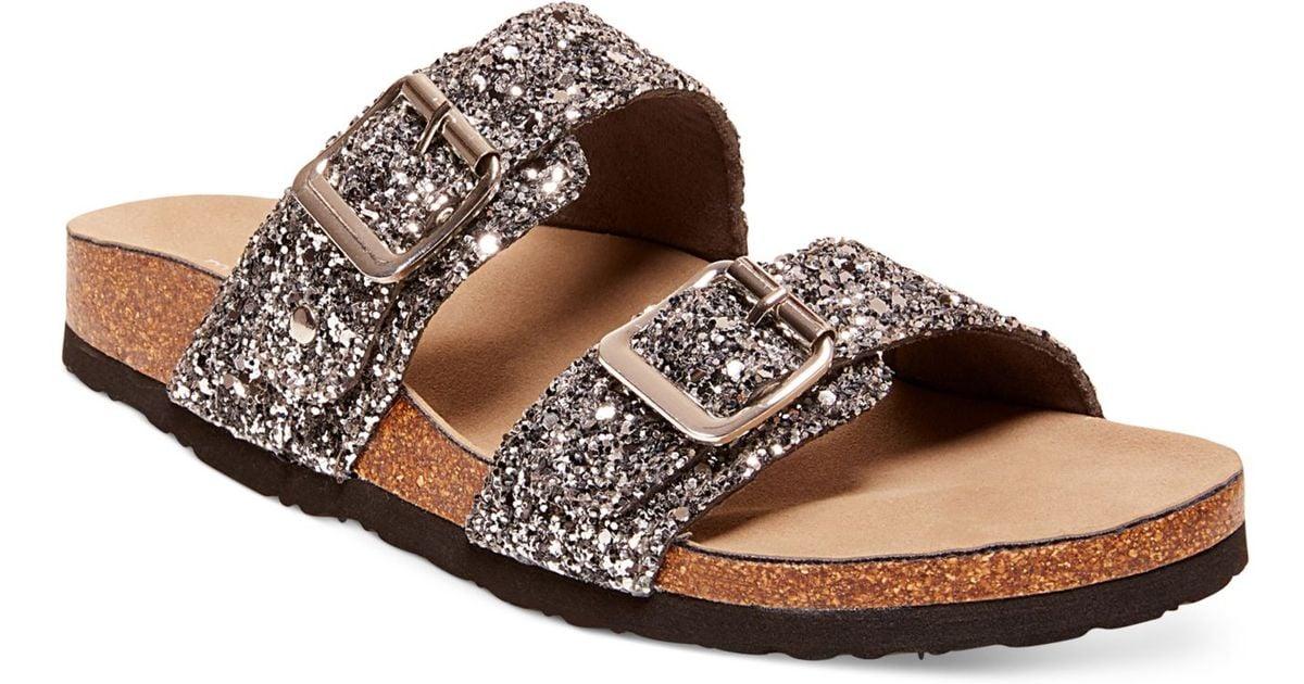 Madden Girl Brando Glitter Faux Leather Sandals In Metallic Lyst