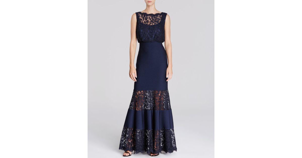 988f59a4d074 Lyst - Tadashi Shoji Gown - Sleeveless Lace Blouson Banded Waist in Blue