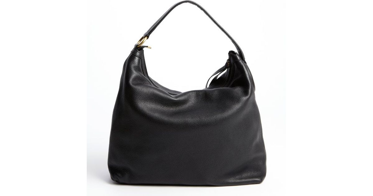 Gucci Black Leather Slouchy Hobo Bag in Black | Lyst