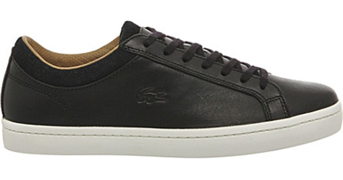 da4a3d82d Lacoste Straightset Leather Trainers in Black for Men - Lyst