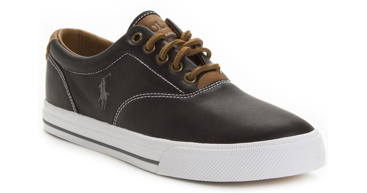 6386bf5cbd4629 Lyst - Polo Ralph Lauren Vaughn Leather Sneakers in Black for Men