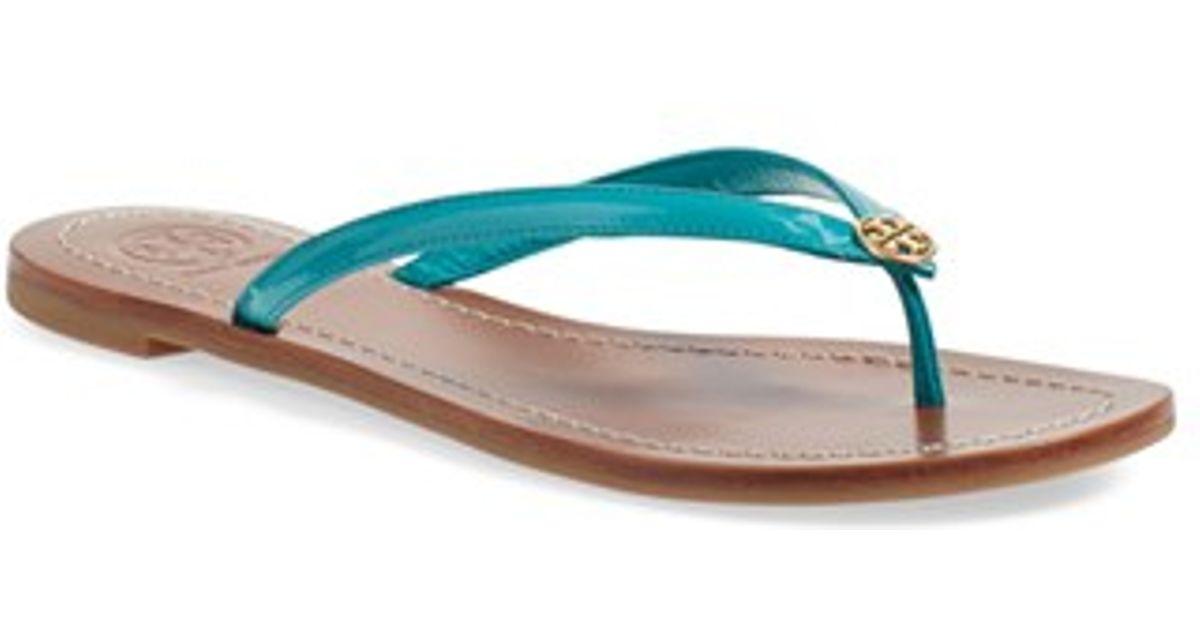 449ff051f310 Lyst - Tory Burch Terra Leather Flip-Flops in Blue