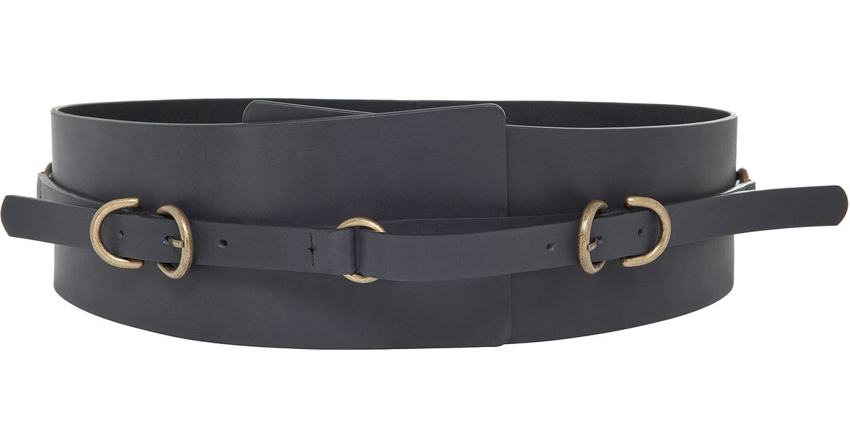max wide leather belt in black lyst
