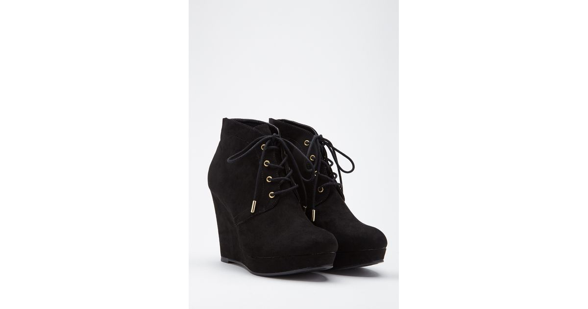 18f1e656119 Lyst Forever 21 Lace Up Wedge Booties In Black