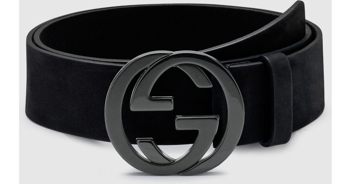 lyst gucci black suede belt with interlocking g buckle