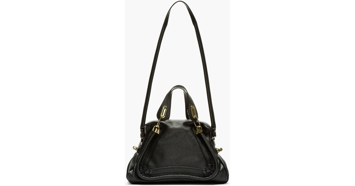 Chlo¨¦ Black Grained Leather Medium Paraty Shoulder Bag in Black | Lyst