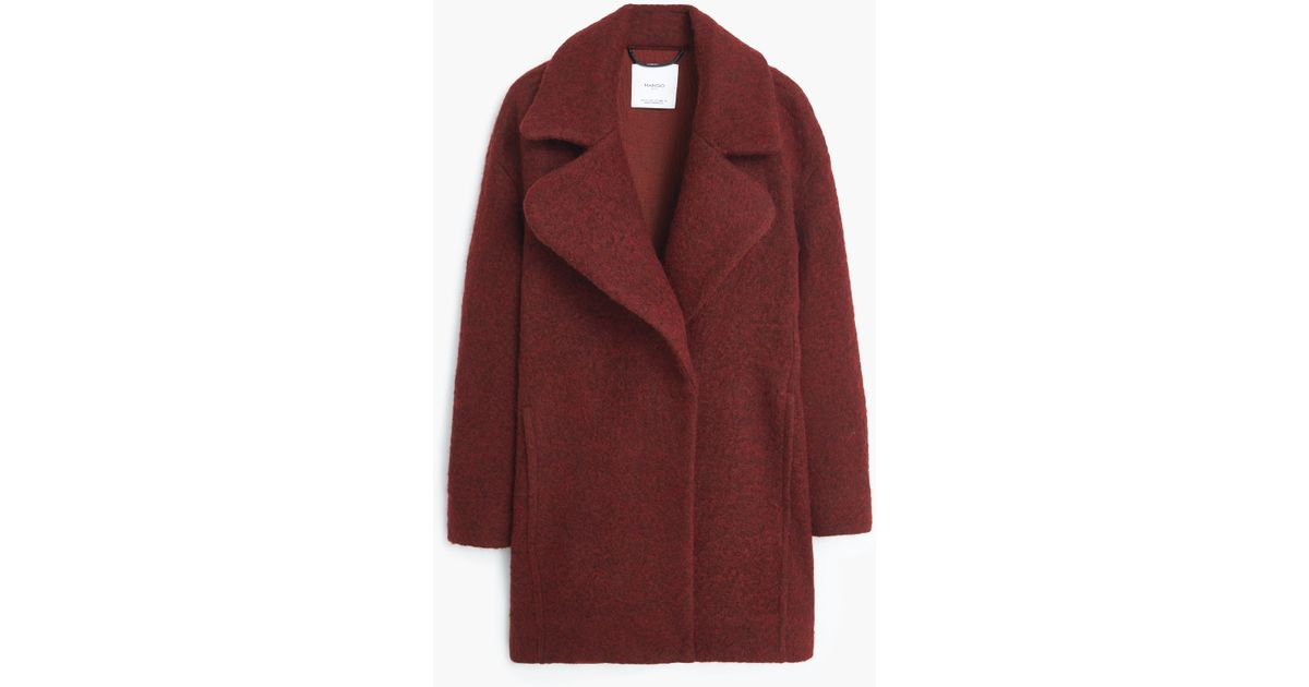Mango Lapels Wool Coat in Red  ee34db67f