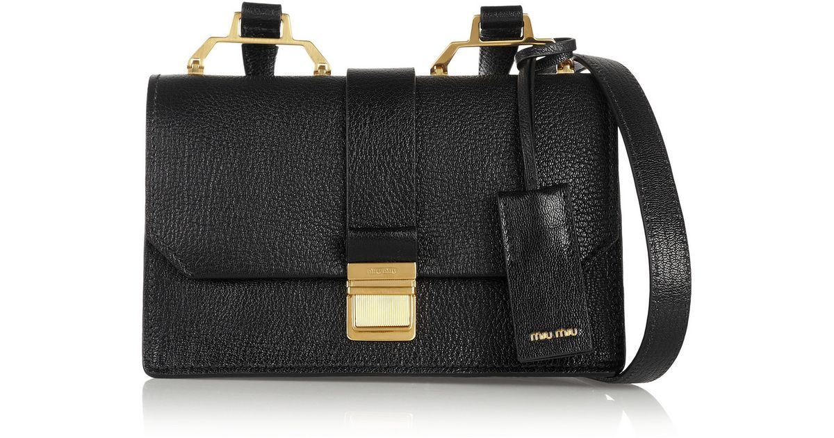 a807c160f032 Lyst - Miu Miu Madras Small Textured-leather Shoulder Bag in Black