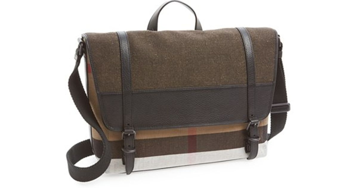 Burberry  foster  Canvas Check Messenger Bag in Brown for Men - Lyst 38142bcf4864f