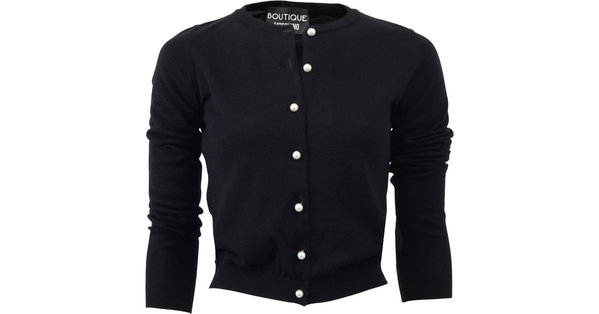 Boutique moschino Pearl Button Cardigan in Black | Lyst