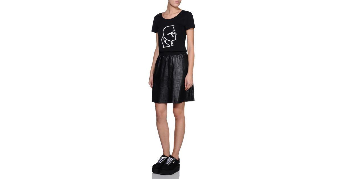 karl lagerfeld soft leather skirt in black lyst