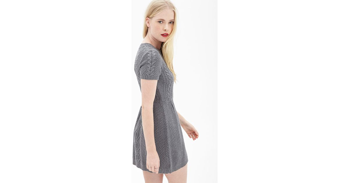 Lyst Forever 21 Cable Knit Sweater Dress In Gray