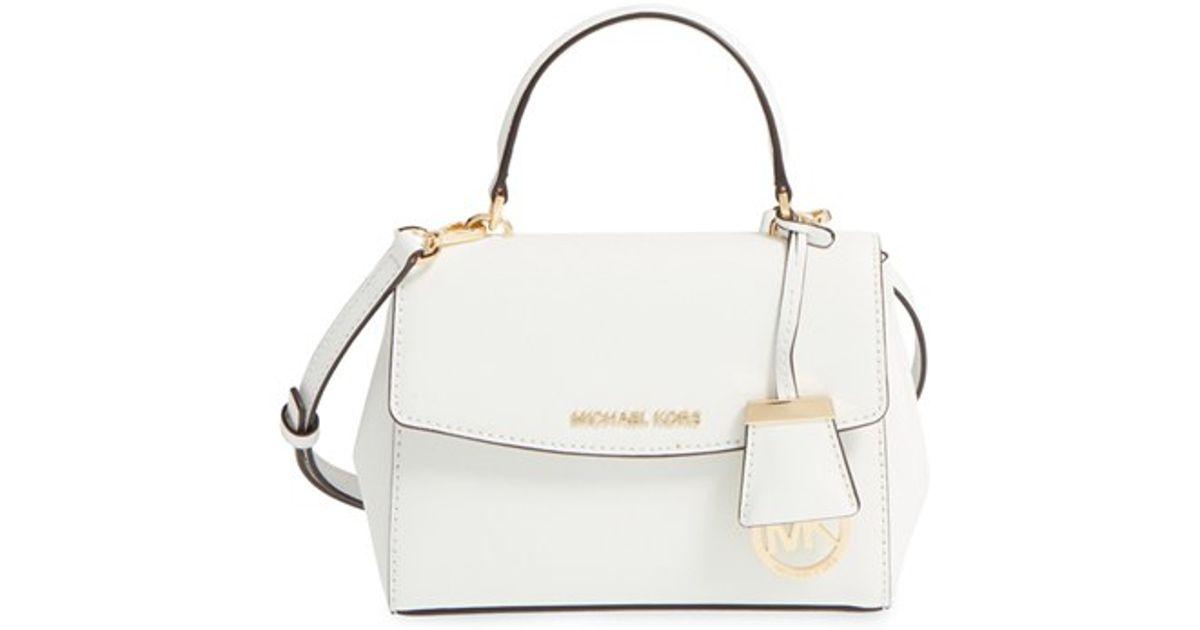3ed8e321c0ea ... Gold Lyst - Michael Michael Kors extra Small Ava Leather Crossbody Bag  in White ...