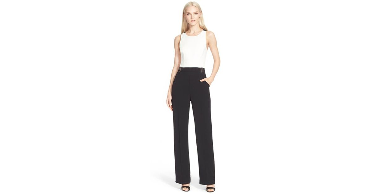 5953211f7f64 Lyst - Ted Baker  lydya  Cross Back Colorblock Jumpsuit in White