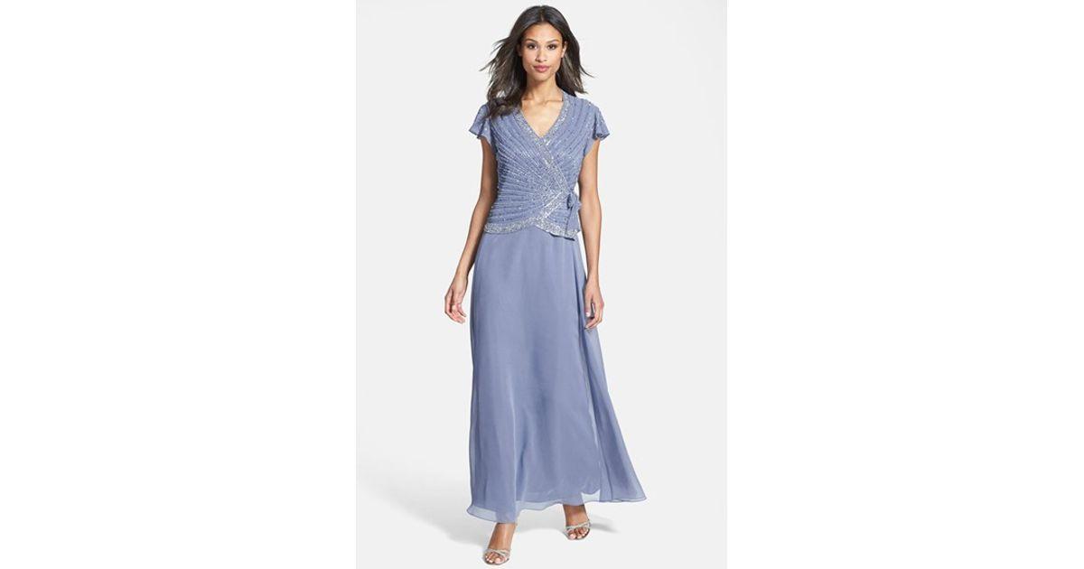 d4915e424d J Kara Embellished Mock Two-piece Gown in Blue - Lyst
