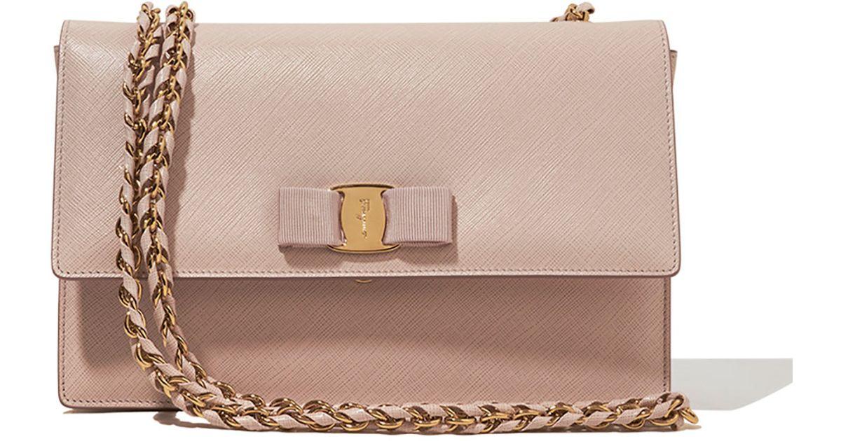 458f2288f2af Ferragamo Ginny Vara Medium Crossbody Bag in Natural - Lyst