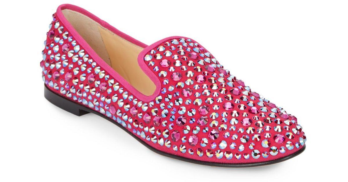 48f9e68ec07 Lyst - Giuseppe Zanotti Suede Swarovski Loafers in Pink