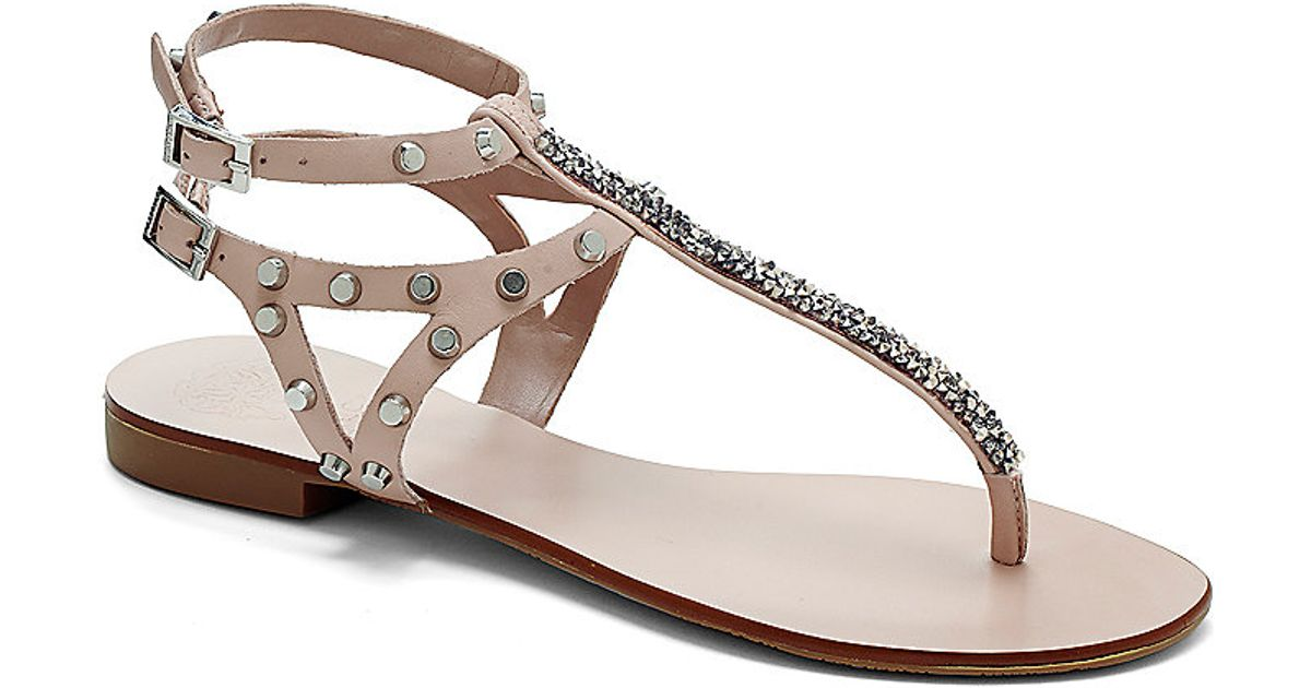 f9306bcf86b Lyst - Vince Camuto Jemile - Strappy Studded Thong Sandal in Natural