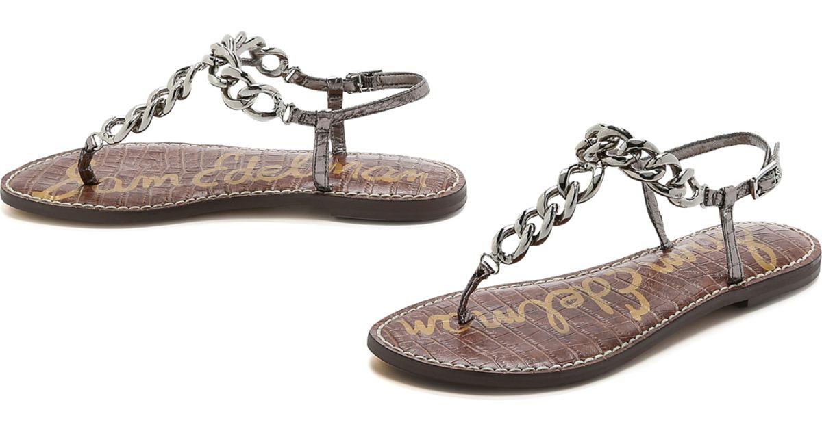 1f8a175966bc Sam Edelman Grella Chain Strap Sandals - Pewter in Metallic - Lyst