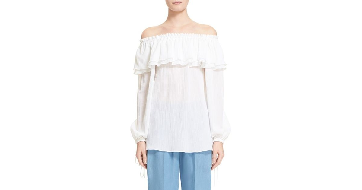 Lyst Michael Kors Off Shoulder Peasant Blouse In White