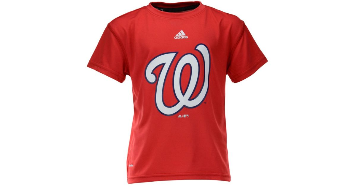 more photos 29fe9 af09c Lyst - adidas Boys Washington Nationals Team Logo Climalite Tshirt in Red  for Men