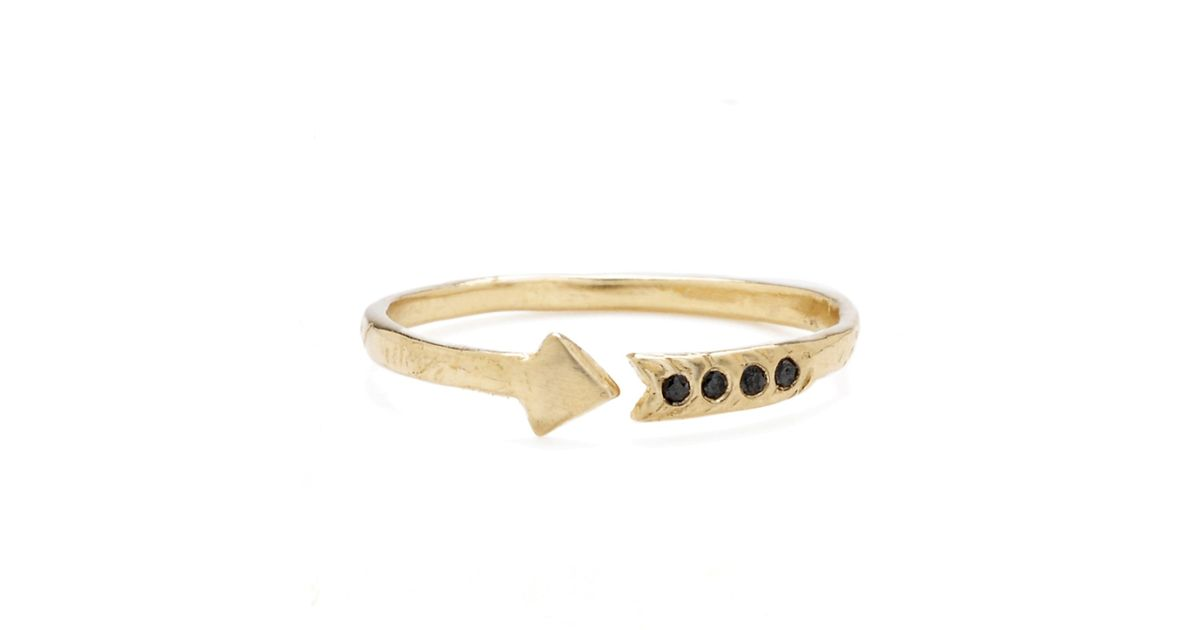 Odette new york 14k diamond arrow ring in metallic lyst for Jewelry storm arrow ring