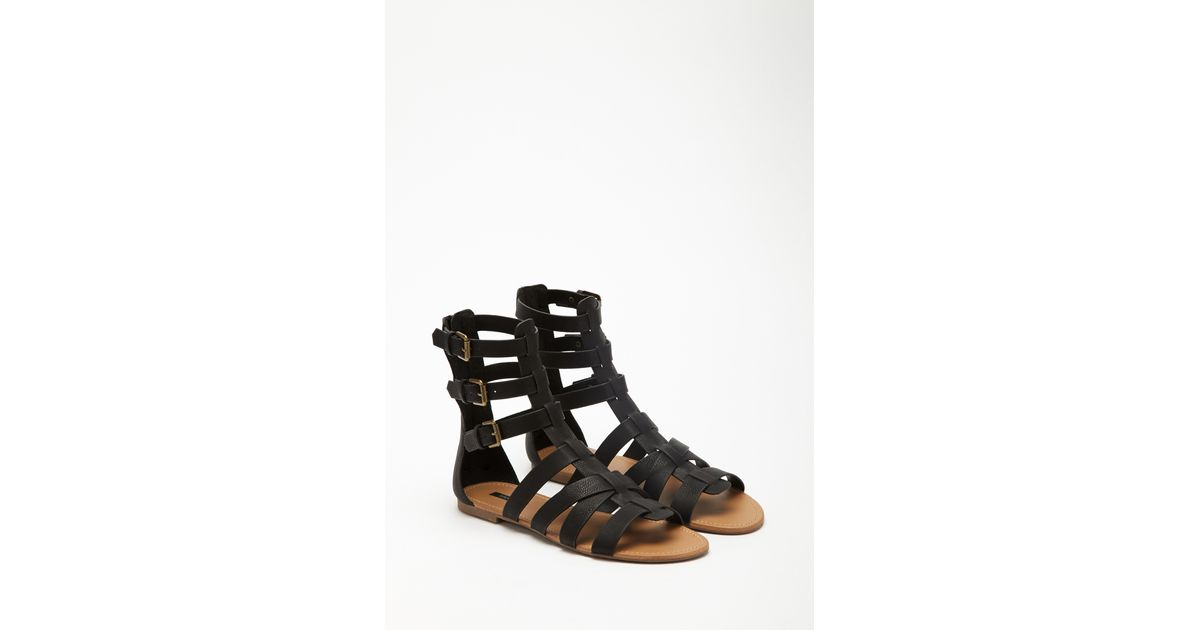 53ddb3c7f103 Lyst - Forever 21 Faux Leather Gladiator Sandals in Black