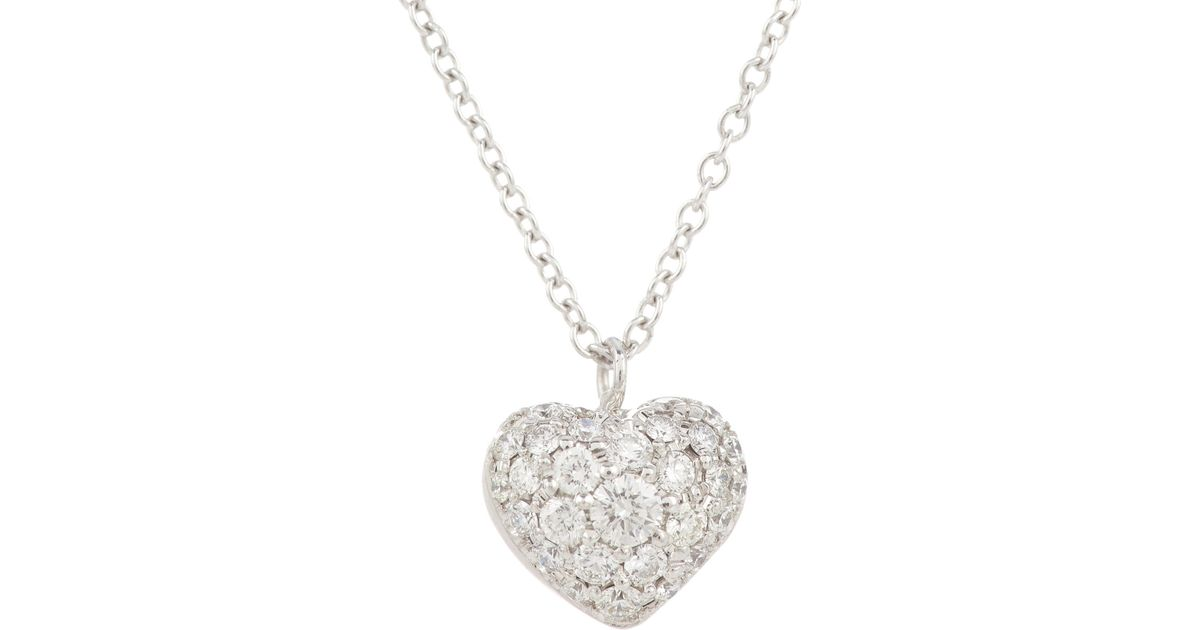 Lyst finn pave puffed heart pendant necklace in white aloadofball Images