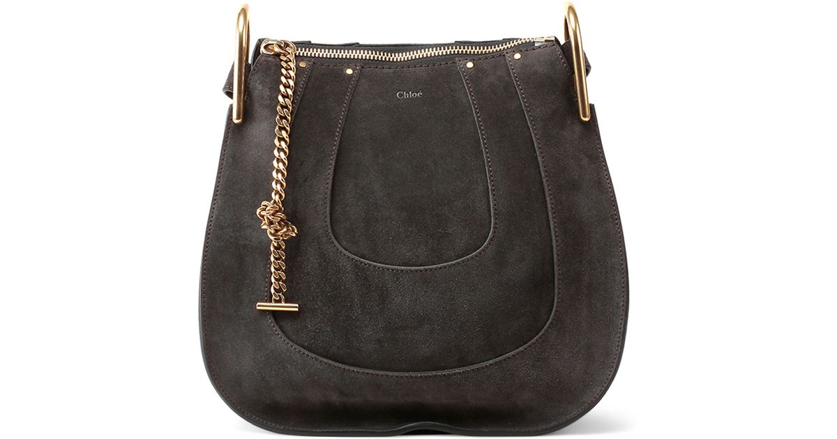 8789d32934 Lyst - Chloé Hayley Small Suede Hobo Bag in Gray