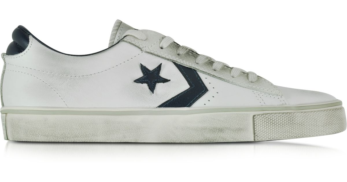 2c14a354a4d2a0 Lyst - Converse Pro Leather Vulc Ox White And Navy Blue Distressed Leather  Unisex Sneaker in White for Men