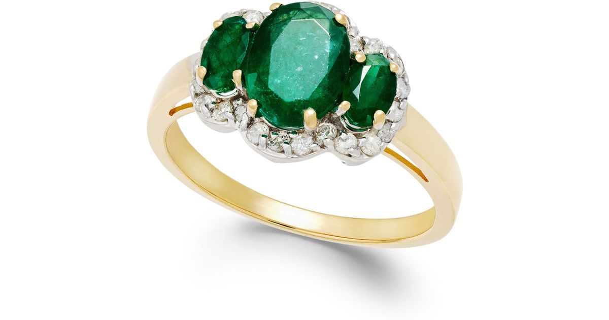 Macy s Emerald 1 9 10 Ct T w And Diamond 1 4 Ct T w Ring In 14k G