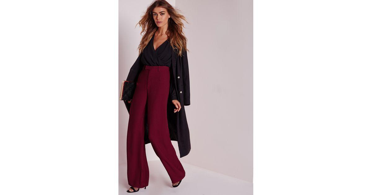 22aa515ee4c Lyst - Missguided Petite Premium Crepe Wide Leg Pants Burgundy in Red
