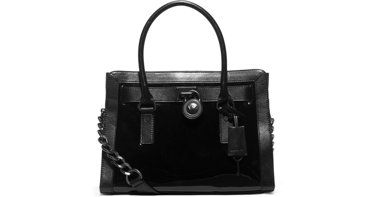 62ad4e92ae76 Michael Kors Hamilton Patent-leather Satchel in Black - Lyst
