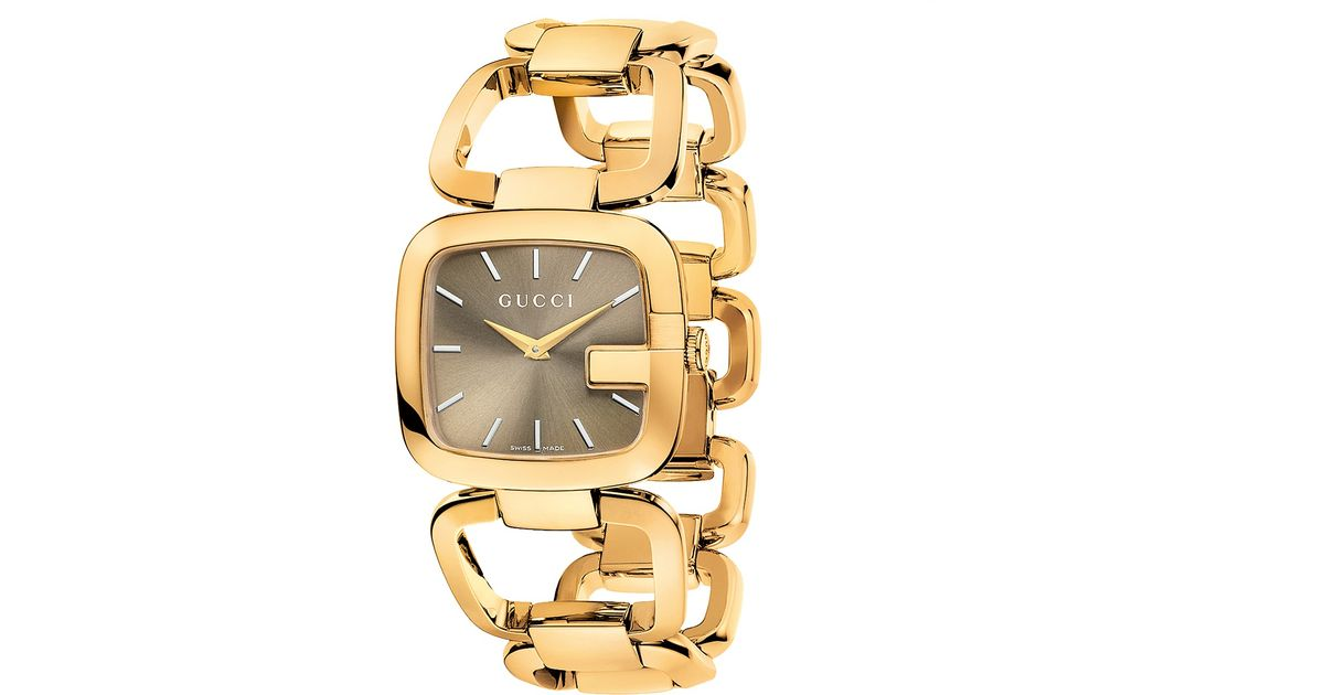 08c474ded61 Lyst Gucci Ya125408 Women S G Gold Plated Bracelet Strap Watch In