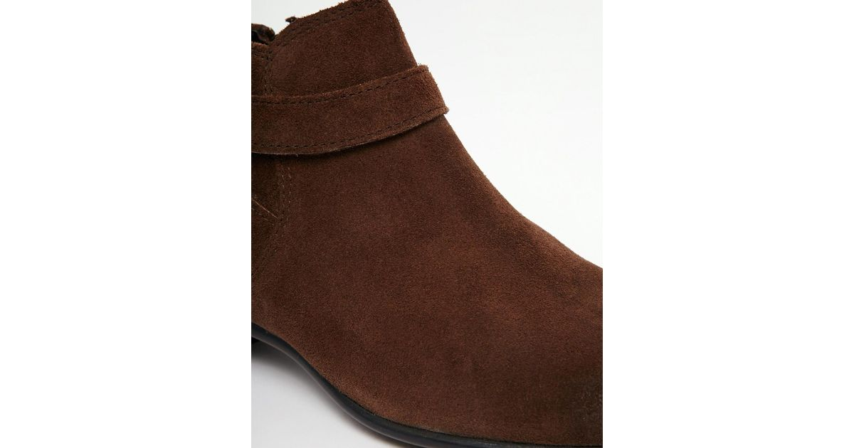 asos chelsea boots in brown suede with buckle in
