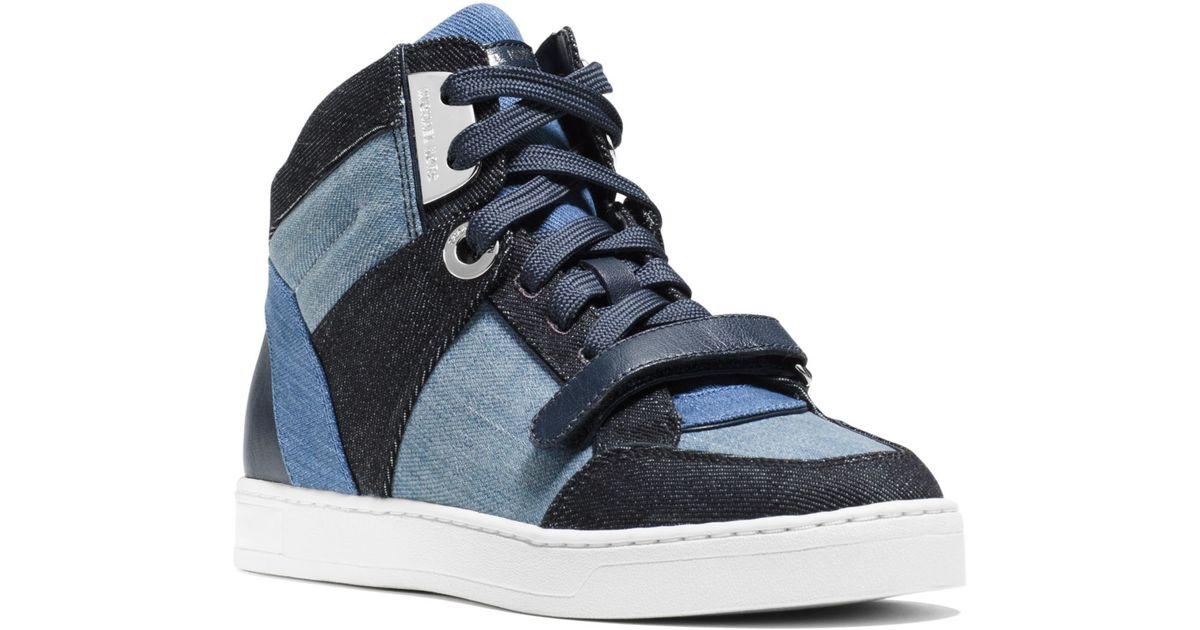 dfa9c462213c5 Lyst - Michael Kors Ollie High-top Denim Sneaker in Blue