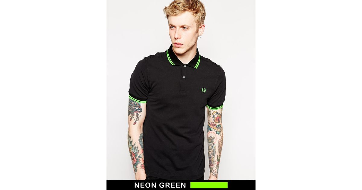 1f92df7e70e Lyst - Fred Perry Soho Neon Polo With Neon Green Tipping Slim Fit in Black  for Men