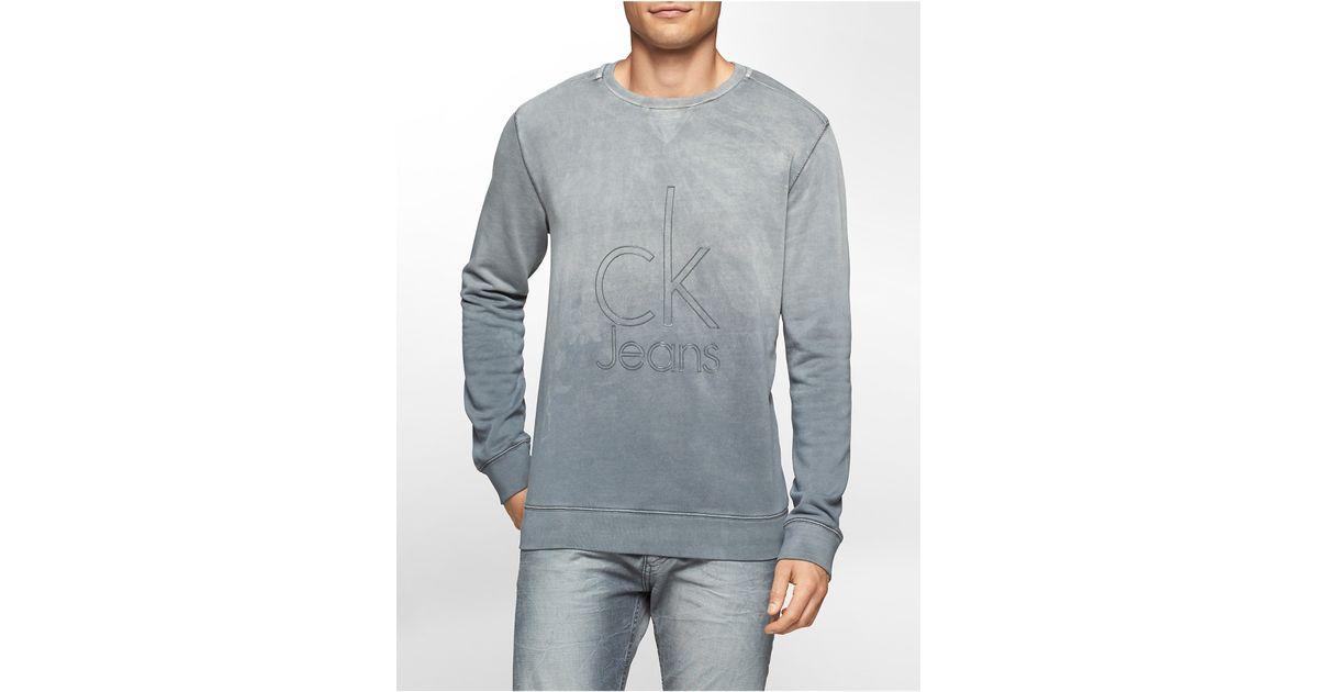 calvin klein jeans light indigo wash logo sweatshirt in. Black Bedroom Furniture Sets. Home Design Ideas