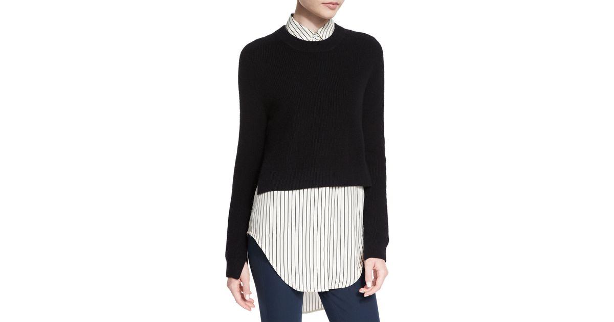 Rag & bone Valentina Cropped Cashmere Sweater in Black | Lyst