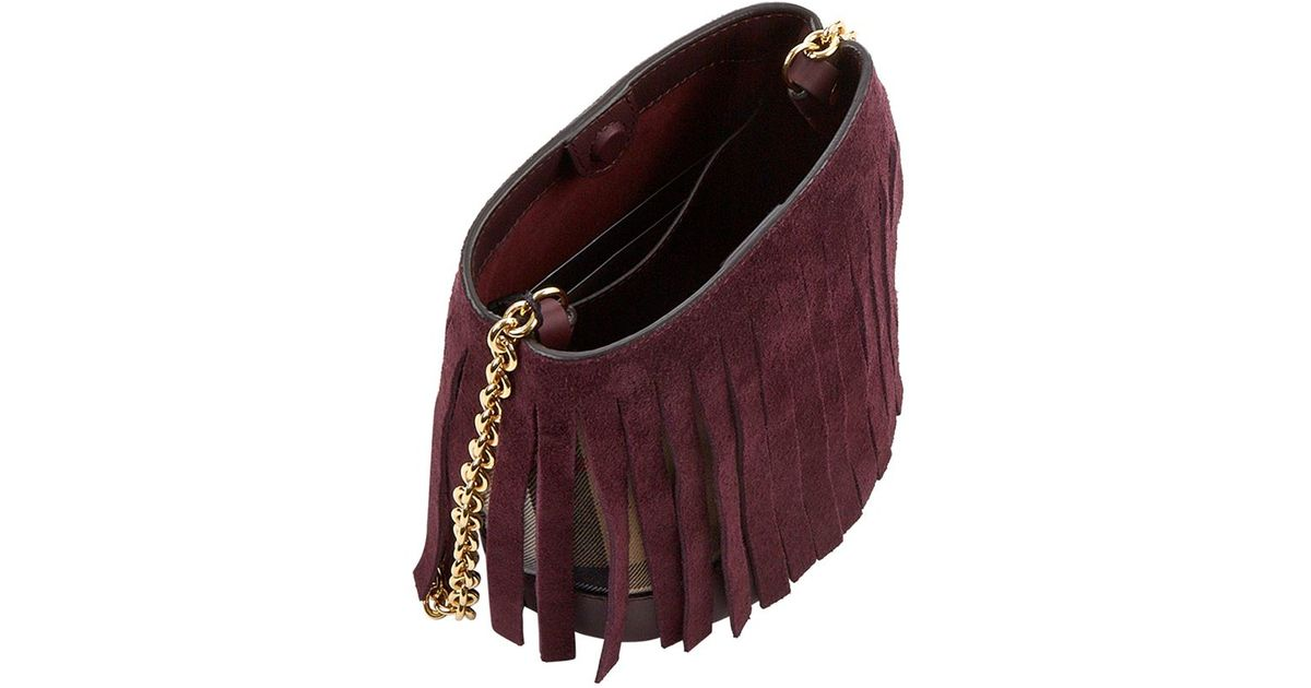 afde0ab184b3 Burberry Suede Fringe House Check Baby Bucket Bag in Purple - Lyst