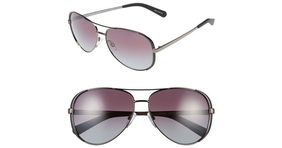 edbda16577 Lyst - Michael Kors Collection 59mm Polarized Aviator Sunglasses -  Gunmetal  Black  Purple in Black