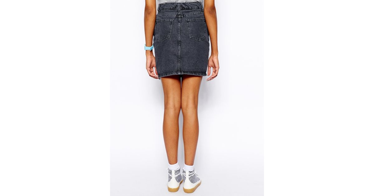 American apparel High Waist Denim Skirt in Black | Lyst
